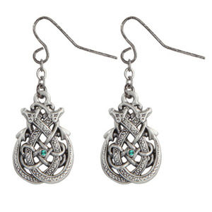 Mystica Jewelry - Celtic Knot Dragon Dangle Hook Pewter Earrings